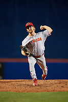 Florida Fire Frogs relief pitcher Justin Kelly (9) during a Florida State League game against the St. Lucie Mets on April 12, 2019 at First Data Field in St. Lucie, Florida.  Florida defeated St. Lucie 10-7.  (Mike Janes/Four Seam Images)