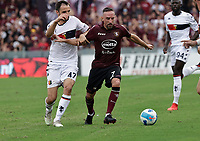 2nd October 2021; Arechi Stadium, Salerno, Italy; Serie A football, Salernitana versus Genoa : Milan Badelj of Genoa held off by Frank Ribery of Salernitana