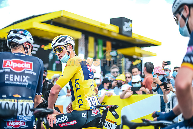 Race leader Yellow Jersey Mathieu Van Der Poel (NED) and Alpecin-Fenix at sign on before Stage 6 of the 2021 Tour de France, running 160.6km from Tours to Chateauroux, France. 1st July 2021.  <br /> Picture: A.S.O./Pauline Ballet | Cyclefile<br /> <br /> All photos usage must carry mandatory copyright credit (© Cyclefile | A.S.O./Pauline Ballet)