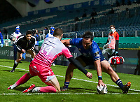 2nd October 2020; RDS Arena, Dublin, Leinster, Ireland; Guinness Pro 14 Rugby, Leinster versus Dragons; James Lowe (Leinster) touches down to score a try despite the challenge from Jonah Holmes