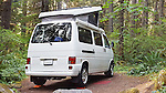 Camping in pop top van at Camp Creek Campground, Mt. Hood National Forest, Portland, Oregon.