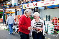 26/8/2011. Dublin Fruit and Vegetable Market. Pat Martin of K and M fruit and Vegetable importers and Eilish Carbury are pictured at the Dublin Fruit and Vegetable Market. for over 40 years. Picture James Horan/Collins Photos