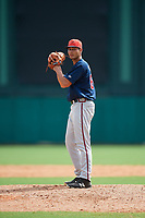 Atlanta Braves pitcher Freddy Tarnok (64) gets ready to deliver a pitch during a Florida Instructional League game against the Canadian Junior National Team on October 9, 2018 at the ESPN Wide World of Sports Complex in Orlando, Florida.  (Mike Janes/Four Seam Images)