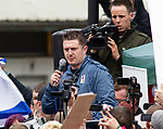 © Joel Goodman - 07973 332324 . 05/05/2012 .  Luton , UK . EDL leader TOMMY ROBINSON ( Stephen Yaxley-Lennon ) addresses a rally of supporters after the march . Approximately 1,500 people take part in an EDL ( English Defence League ) march in Luton , understood to have been policed by over 1,000 officers . Photo credit: Joel Goodman