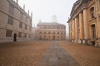Oxford University's Sheldonian Theatre on a misty day.