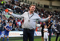 Sunday, 13 April 2014<br /> Pictured: Eastenders actor Adam Woodyatt who plays Ian Beale, takes a penalty kick during half time.<br /> Re: Barclay's Premier League, Swansea City FC v Chelsea at the Liberty Stadium, south Wales,