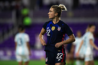 ORLANDO CITY, FL - FEBRUARY 24: Kristie Mewis #22 of the USWNT walks toward the corner during a game between Argentina and USWNT at Exploria Stadium on February 24, 2021 in Orlando City, Florida.
