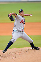 Starting pitcher Dimasther Delgado #52 of the Rome Braves in action versus the Kannapolis Intimidators at Fieldcrest Cannon Stadium July 28, 2009 in Kannapolis, North Carolina. (Photo by Brian Westerholt / Four Seam Images)