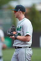 Marshall Thundering Herd first baseman Tommy Lane (19) on defense against the Charlotte 49ers at Hayes Stadium on April 23, 2016 in Charlotte, North Carolina. The Thundering Herd defeated the 49ers 10-5.  (Brian Westerholt/Four Seam Images)