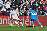 Ferland Mendy of Real Madrid and Damian Suarez of Getafe FC during La Liga match between Getafe CF and Real Madrid at Coliseum Alfonso Perez in Getafe, Spain. January 04, 2020. (ALTERPHOTOS/A. Perez Meca)