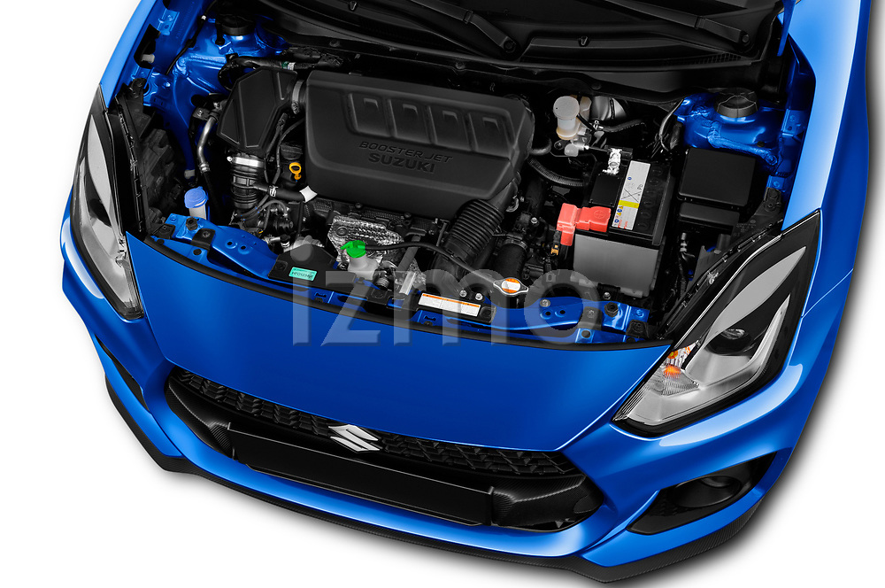 Car stock 2018 Suzuki Swift Sport Base 5 Door Hatchback engine high angle detail view