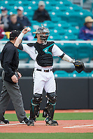 Coastal Carolina Chanticleers catcher Casey Schroeder (10) throws the ball back to his pitcher during the game against the Bryant Bulldogs at Springs Brooks Stadium on March 13, 2015 in Charlotte, North Carolina.  The Chanticleers defeated the Bulldogs 7-2.  (Brian Westerholt/Four Seam Images)