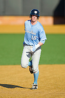 Colin Moran (18) of the North Carolina Tar Heels rounds the bases after hitting a home run against the Wake Forest Demon Deacons at Wake Forest Baseball Park on March 9, 2013 in Winston-Salem, North Carolina.  The Tar Heels defeated the Demon Deacons 20-6.  (Brian Westerholt/Four Seam Images)