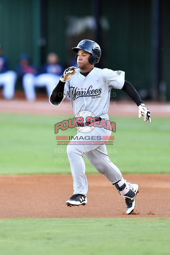Pulaski Yankees right fielder Frederick Cuevas (27) runs to second base during game one of the Appalachian League Championship Series against the Elizabethton Twins at Joe O'Brien Field on September 7, 2017 in Elizabethton, Tennessee. The Twins defeated the Yankees 12-1. (Tony Farlow/Four Seam Images)