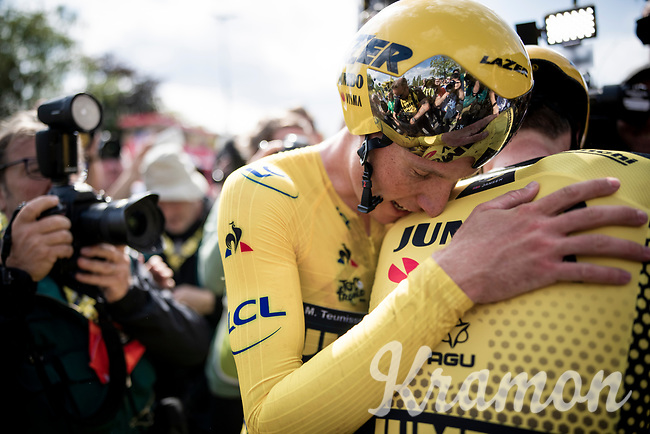 Last team to start is also the winning team at the finish; Team Jumbo-Visma wins the TTT and (almost) all of the jerseys > their post-finish joy is as high.<br /> Yellow jersey / GC leader Mike Teunissen (NED/Jumbo-Visma) absorbing all the emotions.<br /> <br /> Stage 2 (TTT): Brussels to Brussels(BEL/28km) <br /> 106th Tour de France 2019 (2.UWT)<br /> <br /> ©kramon