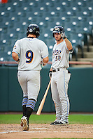 Akron RubberDucks right fielder Mike Papi (38) is greeted at home by Mike Papi (38) after hitting a home run during the second game of a doubleheader against the Bowie Baysox on June 5, 2016 at Prince George's Stadium in Bowie, Maryland.  Bowie defeated Akron 12-7.  (Mike Janes/Four Seam Images)