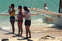 Native bathers. Boracay island, Aklan. September, 2001