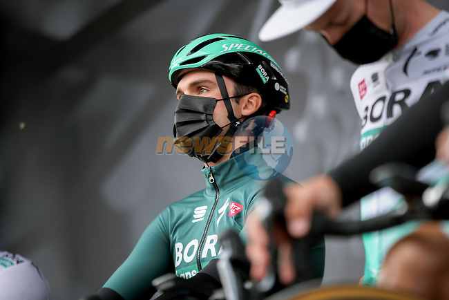 Maximilian Schachmann (GER) Bora-Hansgrohe at sign on before Stage 6 of Paris-Nice 2021, running 202.5km from Brignoles to Biot, France. 12th March 2021.<br /> Picture: ASO/Fabien Boukla   Cyclefile<br /> <br /> All photos usage must carry mandatory copyright credit (© Cyclefile   ASO/Fabien Boukla)