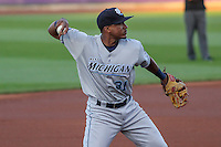 West Michigan Whitecaps infielder Francisco Contreras (31) throws to first base between innings of game five of the Midwest League Championship Series against the Cedar Rapids Kernels on September 21st, 2015 at Perfect Game Field at Veterans Memorial Stadium in Cedar Rapids, Iowa.  West Michigan defeated Cedar Rapids 3-2 to win the Midwest League Championship. (Brad Krause/Four Seam Images)