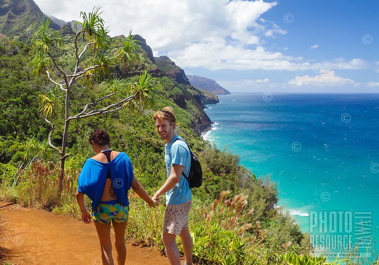 Hikers on the Kalalau Trail along the Na Pali Coast of Kaua'i.