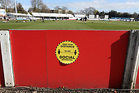 General view of a 2m social distancing sign ahead of Essex CCC vs Lancashire CCC, Friendly Match Cricket at The Cloudfm County Ground on 25th March 2021