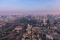Bangkok Downtown aerial view near the Baiyoke Tower at dusk