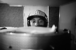 BROOKLYN -- FEBRUARY 10, 2009:  Rapper Brooklyn Chase records a track in a Flatbush recording studio on February 10, 2009 in Brooklyn.  (PHOTOGRAPH BY MICHAEL NAGLE).