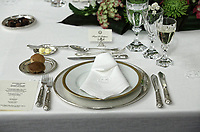 Pictured: The official dinner set on one of the tables during the official state dinner at the Presidential Mansion in Athens, Greece. Wednesday 09 May 2018 <br /> Re: Official visit of HRH Prnce Charles and his wife the Duchess of Cornwall to Athens, Greece.