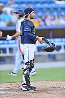 Asheville Tourists catcher Cesar Salazar (11)  during a game against the Aberdeen IronBirds on June 17, 2021 at McCormick Field in Asheville, NC. (Tony Farlow/Four Seam Images)