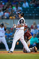 Arkansas Travelers third baseman Seth Mejias-Brean (28) at bat during a game against the Frisco RoughRiders on May 26, 2017 at Dickey-Stephens Park in Little Rock, Arkansas.  Arkansas defeated Frisco 4-2.  (Mike Janes/Four Seam Images)