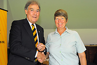 Julie Harris (right) with David Howman. Cricket Wellington membership badge presentations in the Long Room at the Basin Reserve in Wellington, New Zealand on Saturday, 14 November 2020. Photo: Dave Lintott / lintottphoto.co.nz