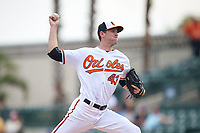 Baltimore Orioles relief pitcher Joe Gunkel (43) delivers a pitch during a Spring Training exhibition game against the Dominican Republic on March 7, 2017 at Ed Smith Stadium in Sarasota, Florida.  Baltimore defeated the Dominican Republic 5-4.  (Mike Janes/Four Seam Images)
