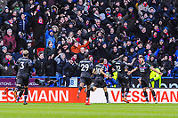 Crystal Palace's defender Mamadou Sakho (12) celebrates with Crystal Palace's defender James Tomkins (5) during the EPL - Premier League match between Huddersfield Town and Crystal Palace at the John Smith's Stadium, Huddersfield, England on 17 March 2018. Photo by Stephen Buckley / PRiME Media Images.