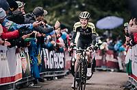 A happy smiling Jack Haig (AUS/Mitchelton Scott) up the grueling/infamous Monte Zoncolan (1735m/11%/10km)<br /> <br /> stage 14 San Vito al Tagliamento – Monte Zoncolan (186 km)<br /> 101th Giro d'Italia 2018