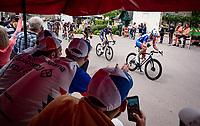 Valentin Madouas (FRA/Groupama - FDJ) greeting some team fans while rolling through town<br /> <br /> Stage 3 from Lorient to Pontivy (183km)<br /> 108th Tour de France 2021 (2.UWT)<br /> <br /> ©kramon