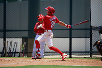 GCL Phillies West Tucker Maxwell (29) bats during a Gulf Coast League game against the GCL Yankees East on August 3, 2019 at the Carpenter Complex in Clearwater, Florida.  The GCL Yankees East defeated the GCL Phillies West 4-0, the second game of a doubleheader.  (Mike Janes/Four Seam Images)