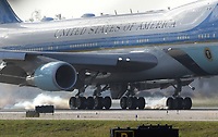 WEST PALM BEACH, FL - APRIL 18: US President Donald Trump along with his wife First Lady Melania Trump greet supporters as they arrive on Air Force One at the Palm Beach International Airport to spend Easter weekend at Mar-a-Lago resort , Earlier in the day Trump Declared victory after the release of the Mueller Report. Also on board was Mick Mulvaney Director of the Office of Management and Budget, White House attorney Pat Cipollone and Daniel Scavino Jr. the White House Director of Social Media on April 18, 2019 in West Palm Beach, Florida.<br /> <br /> <br /> People:  President Donald Trump, Melania Trump