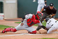 Matt Wessinger (12) of the Grand Junction Rockies is tagged out at home plate by Billings Mustangs catcher Wagner Gomez (34) at Suplizio Field on July 24, 2012 in Grand Junction, Colorado.  The Rockies defeated the Mustangs 4-3.  (Brian Westerholt/Four Seam Images)