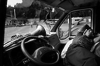 SERBIA. Guca. 10th August 2008..A band member sleeps in a van..©Andrew Testa/Panos Pictures