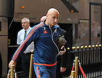 Jonjo Shelvey of Swansea City arrives at the Stadium of Light during the Barclays Premier League match between Sunderland and Swansea City played at Stadium of Light, Sunderland