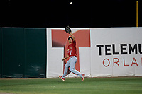 Palm Beach Cardinals left fielder Chase Pinder (5) settles under a fly ball during a game against the Florida Fire Frogs on May 1, 2018 at Osceola County Stadium in Kissimmee, Florida.  Florida defeated Palm Beach 3-2.  (Mike Janes/Four Seam Images)