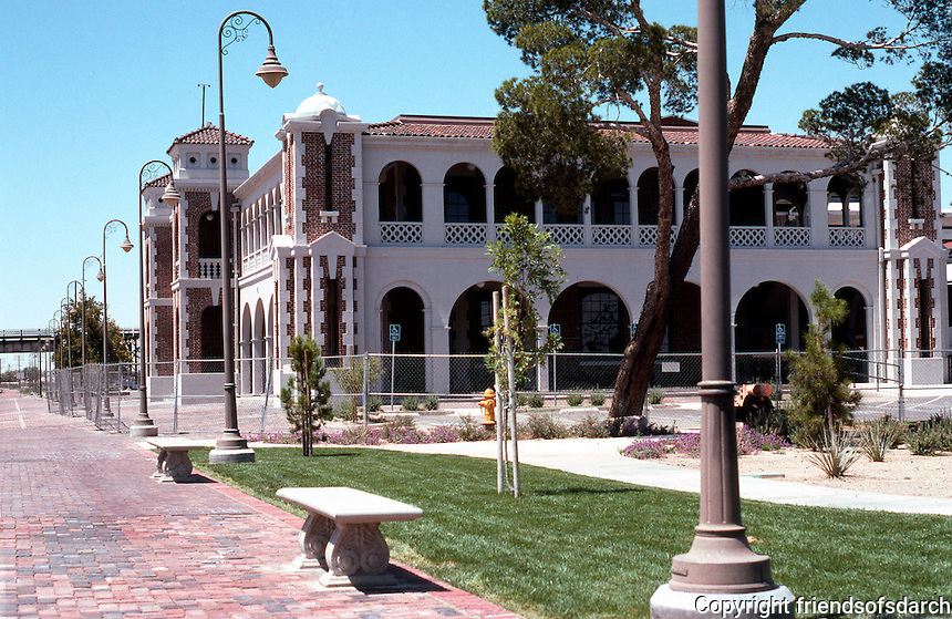 So. California: Santa Fe Depot from Bast.  (Thirty years ago it was said to face destruction. Now, 1999, it is to be a Route 66 Museum.) Photo '99.