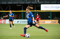 TACOMA, WA - JULY 31: Lauren Barnes #3 of the OL Reign crosses the ball during a game between Racing Louisville FC and OL Reign at Cheney Stadium on July 31, 2021 in Tacoma, Washington.