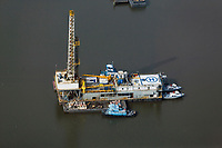 aerial photograph of a Hercules Offshore oil drilling platform in the gulf off of the Texas coast