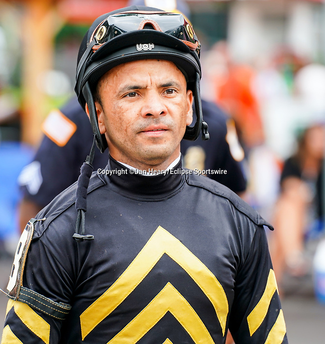July 17, 2021: Jockey Jose Lezcano before a race on opening weekend at Saratoga Race Course in Saratoga Springs, N.Y. on July 17, 2021. Dan Heary/Eclipse Sportswire/CSM