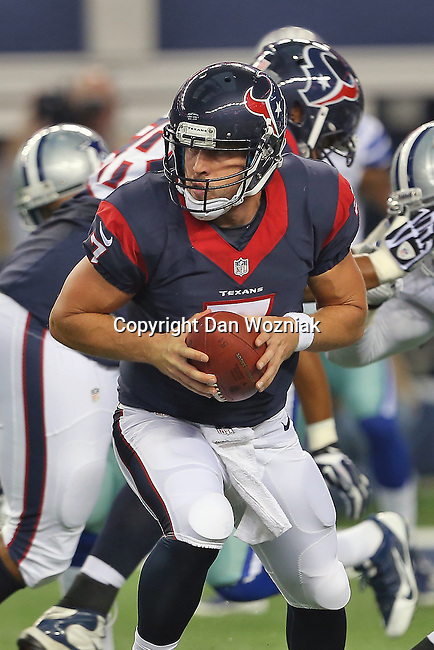 Houston Texans quarterback Case Keenum (7) in action during the pre-season game between the Houston Texans and the Dallas Cowboys at the AT & T stadium in Arlington, Texas. Houston leads Dallas 14 to 3 at halftime.