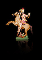 Painted colour verion of Roman marble sculpture of a warrior on horseback, a 2nd century AD copy from an original 2nd century BC Hellanistic Greek original, inv 6405, Museum of Archaeology, Italy