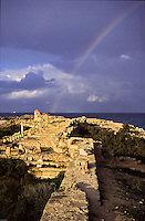 The harbour, Leptis Magna port ruins Libya