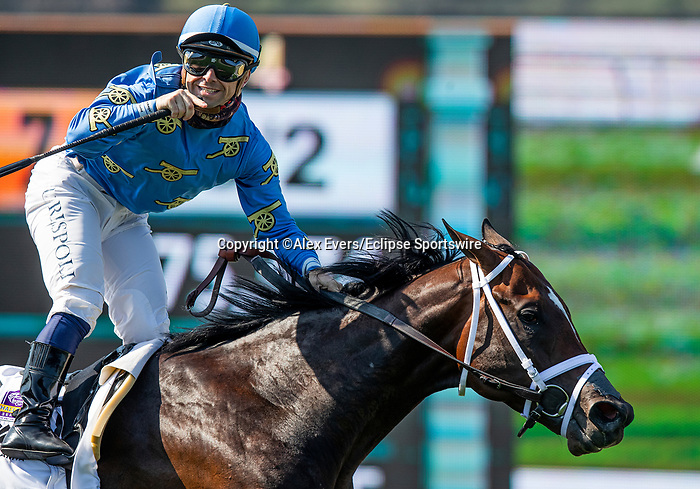 """May 31 2021: #2 Smooth Like Strait and jockey Umberto Rispoli win the Grade 1 Shoemaker Mile, a Breeders' Cup """"Win and """"You're In"""" race for FanDuel Mile at Santa Anita Park in Arcardia California. Alex Evers/Eclipse Sportswire/CSM"""