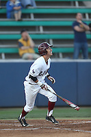 Austin Miller (8) of the Loyola Marymount Lions bats during a game against the Gonzaga Bulldogs at Page Stadium on March 27, 2015 in Los Angeles, California. Loyola Marymount defeated Gonzaga 6-5.(Larry Goren/Four Seam Images)